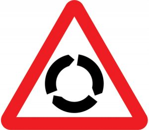 Road Sign to show roundabout ahead